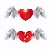 Harten en vleugels stock illustratie