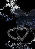 Harten en vlinder Royalty-vrije Stock Afbeeldingen