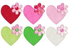 Harten met Bloemen Stock Afbeeldingen
