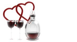 Harten met de Glazen van de Wijn Stock Foto's