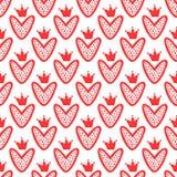 Harten met met de hand getrokken kronen Leuk naadloos patroon Schets, Krabbel, graffiti vector illustratie