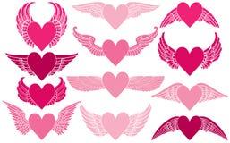 Harten met Vleugels Royalty-vrije Stock Afbeeldingen