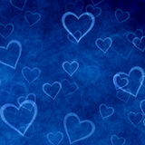 Harten op blauwe achtergrond van de dag van Valentine. Liefdetextuur Stock Foto