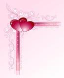 Harten op bloemenhoekframe Stock Afbeelding