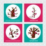 Harten op de boom De kaart van valentijnskaarten Royalty-vrije Stock Foto's