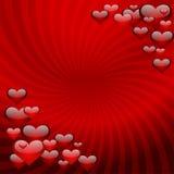 Harten op een rode gestreepte achtergrond Royalty-vrije Stock Foto's