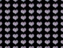 Harten op een zwarte achtergrond Stock Afbeelding
