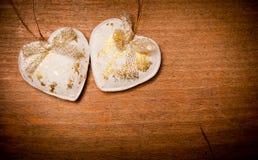 Harten op hout Royalty-vrije Stock Afbeelding