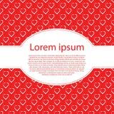 Harten op rode liefdeachtergrond en ovaal tekstkader Stock Afbeeldingen