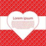 Harten op rood liefdeachtergrond en tekstkader Liefde romantische berichten met harten 14 februari Stock Foto's