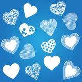 Harten Pictogrammen geplaatst gestileerde blauwdruk Stock Foto