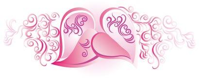 Harten in roze Royalty-vrije Stock Afbeeldingen