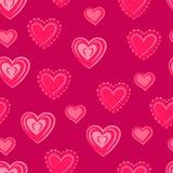 Harten Roze naadloos patroon voor de dag van Valentine ` s Stock Afbeelding