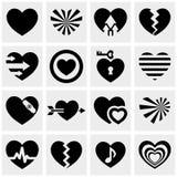 Harten vectordiepictogrammen op grijs worden geplaatst. Liefdetekens. Stock Foto's