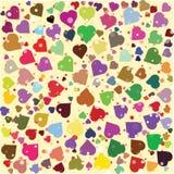 Harten verschillende kleuren om achtergrondmalplaatje Halftone cirkelillustratie Stock Foto