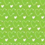 Harten in vorm van pijlen naadloze groene vectorachtergronden voor de Dag van Valentine ` s aard Romantische illustratie voor beh stock afbeelding