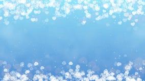 Hartenkader op blauwe achtergrond De abstracte kaart van de valentijnskaartendag stock footage