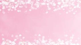 Hartenkader op Rose Background De abstracte kaart van de valentijnskaartendag stock footage