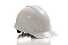 Harter Hut der weißen Bauarbeiter auf Weiß Lizenzfreies Stockbild