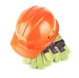 Harter Hut mit Handschuhen Lizenzfreie Stockbilder