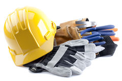 Harter Hut und Handschuhe Stockfotos