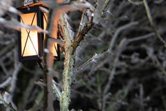 Harter Raureif, gefrorene Baumwinter-Märchenlandlandschaft mit hängender Laterne Nebel- und Nebelhintergrund, einfrierender Nebel lizenzfreies stockbild