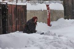 Harter Winter in Bukarest, Hauptstadt von Rumänien Lizenzfreie Stockfotografie