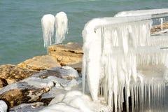 Harter Winter der Schweiz Genf im See Leman Lizenzfreie Stockbilder