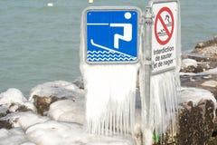 Harter Winter der Schweiz Genf im See Leman Stockbilder
