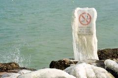 Harter Winter der Schweiz Genf im See Leman Lizenzfreies Stockfoto
