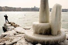 Harter Winter der Schweiz Genf im See Leman Stockfotografie
