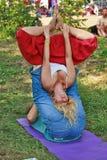 Hartes asana im Yoga Stockfoto
