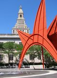 Hartford. Travelers Tower viewed from city park with modern Calder sculpture in foreground Royalty Free Stock Photography