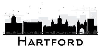 Hartford City skyline black and white silhouette. Stock Photos