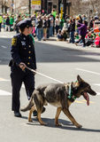 Police woman with k9 officer  full uniform. Police officer on the beat with German shepherd dog Royalty Free Stock Photography