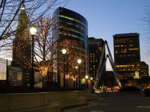 Hartford Holiday. Skyline of Hartford, Connecticut with holiday lighting Royalty Free Stock Photo