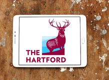 The Hartford insurance company logo. Logo of The Hartford company on samsung tablet. The Hartford is a United States based investment and insurance company Royalty Free Stock Photography
