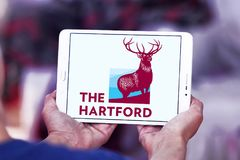 The Hartford insurance company logo. Logo of The Hartford company on samsung tablet. The Hartford is a United States based investment and insurance company Royalty Free Stock Photos