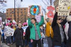 Hartford mujeres ` s marzo de 2018 fotografía de archivo libre de regalías