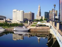 Hartford Skyline. Reflected in the Connecticut river Royalty Free Stock Image
