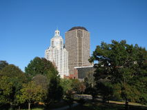 Hartford skyline in autumn. A view of the Hartford skyline from the state capitol park Royalty Free Stock Photo