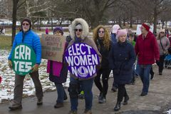 Hartford Women`s March 2018. The Women`s March in Hartford, CT. that was held on January 20, 2018. Women and men from across Connecticut came together to speak stock photo