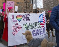 Hartford Women`s March 2018. The Women`s March in Hartford, CT. that was held on January 20, 2018. Women and men from across Connecticut came together to speak royalty free stock photos