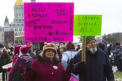 Hartford Women`s March 2018. The Women`s March in Hartford, CT. that was held on January 20, 2018. Women and men from across Connecticut came together to speak Stock Image