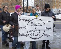 Hartford Women`s March 2018. The Women`s March in Hartford, CT. that was held on January 20, 2018. Women and men from across Connecticut came together to speak stock photos