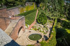 Hartigs庭院Hartigovskà ¡ zahrada在布拉格城堡区域在夏天 库存照片
