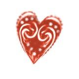 Hartillustratie voor romantisch ontwerp Getrokken de hand krulde rood hart Het element van het ontwerp Het embleem van het Grunge Stock Afbeeldingen