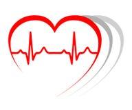 Hartimpuls, één lijn, cardiogram, hartslag - vector stock illustratie