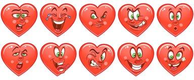Hartinzameling emoticons smiley Emoji Het symbool van de liefde royalty-vrije illustratie