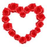 Hartkader van rode realistische rozen De gelukkige kaart van de valentijnskaartdag Stock Afbeeldingen